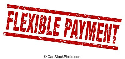 square grunge red flexible payment stamp