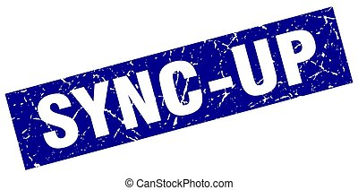 square grunge blue sync-up stamp