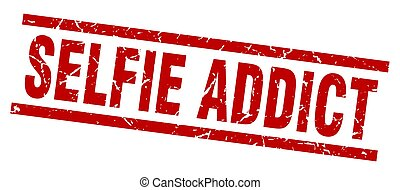 square grunge red selfie addict stamp