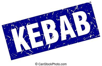 square grunge blue kebab stamp