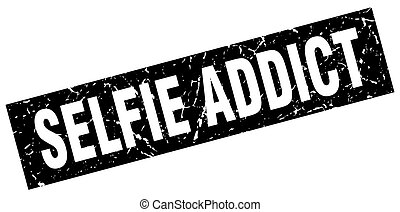 square grunge black selfie addict stamp