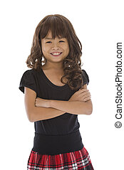 cute girl with arms crossed, isolated on white background