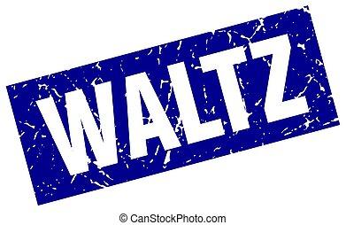 square grunge blue waltz stamp