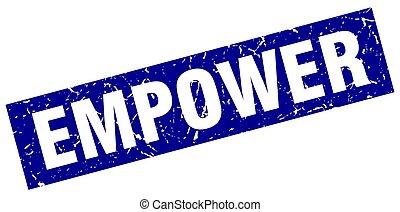 square grunge blue empower stamp