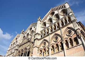 Ferrara - Romanesque facade of famous Ferrara Cathedral in...