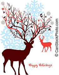 Christmas deer with tree, vector - Christmas deer with...