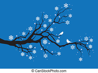 winter tree branch, vector - winter tree with snowflakes and...