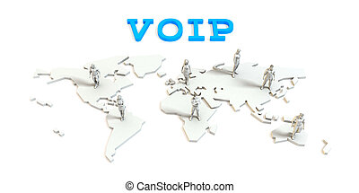 Voip Global Business Abstract with People Standing on Map