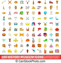 100 history museum icons set, cartoon style