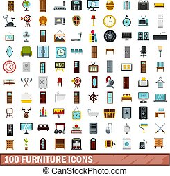 100 furniture icons set, flat style - 100 furniture icons...