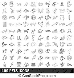 100 pets icons set, outline style - 100 pets icons set in...