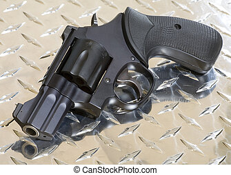 snub nose revolver - small black revolver for self defense...