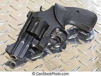 snub nose revolver - small black revolver for self defense...