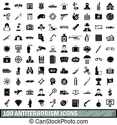 100 antiterrorism icons set, simple style