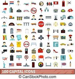 100 capital icons set, flat style
