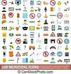 100 municipal icons set, flat style - 100 municipal icons...
