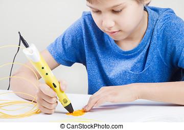 Child with 3d pen. Creative, technology, leisure, education...