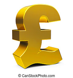 Gold pound sign - Golden Pound sign isolated on white...
