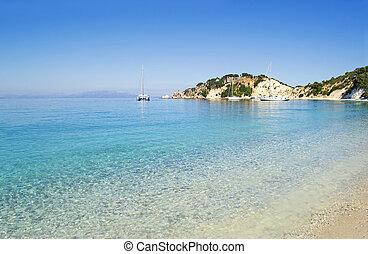 Gidaki beach at Ithaca Greece - Gidaki beach landscape at...