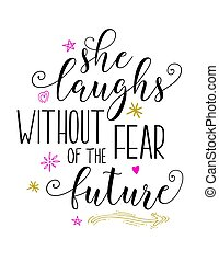 She Laughs without fear of the future bible scripture vector...