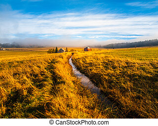 Blatna irrigation canal in the middle of autumn landscape...