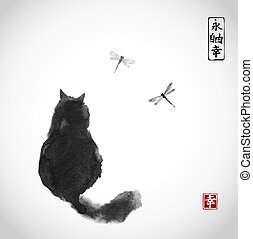Black fluffy cat watching over dragonflies on white background. Traditional Japanese ink painting sumi-e. Contains hieroglyphs - eternity, freedom, happiness