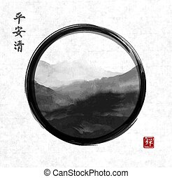 Oriental mountain landscape hand drawn with ink in black...