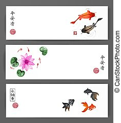 Banners with koi carps, gold fishes and lotus flowers in...