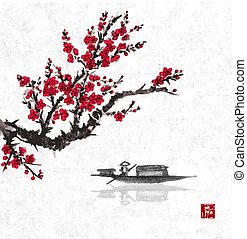 Oriental sakura cherry tree in blossom and fishing boat in water. Traditional oriental ink painting sumi-e, u-sin, go-hua. Contains hieroglyph - happiness.