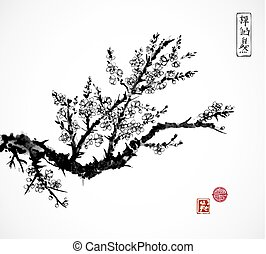 Oriental sakura cherry tree in blossom and fishing boat in water. Traditional oriental ink painting sumi-e, u-sin, go-hua. Contains hieroglyphs - zen, freedom, nature