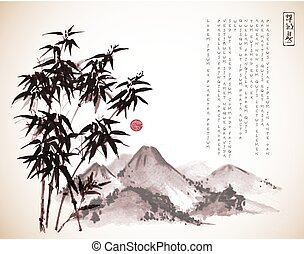 Bamboo tree and mountains hand drawn with ink in vintage...