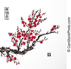 Oriental sakura cherry tree in blossom on white background. Contains hieroglyphs - zen, freedom, nature, happiness. Traditional oriental ink painting sumi-e, u-sin, go-hua.