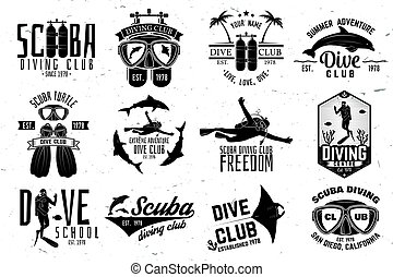 Set of Scuba diving club and diving school design. Vector...