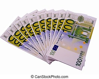 1000 euros in 100 euro money notes - 10 x 100 euro banknotes...