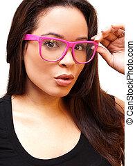 causcasian hispanic woman wearing pink glasses