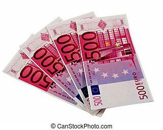 2000 euros in 500 euro money notes - 2000 euros as 4x500...
