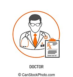 medical prescription concept - medical concept with doctor...