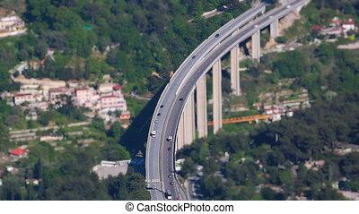 Traffic Motorway Bridge Timelapse - Aerial View Of Cars And...