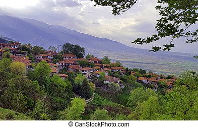 The old city Palaios Panteleiomonas on Mount Olympus,...