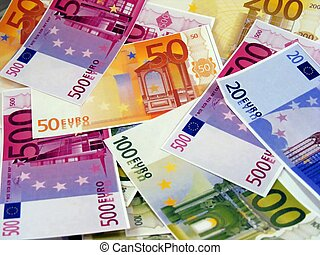 A mixture of euro money notes
