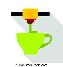 3D printer printing green cup icon, flat style - 3D printer...