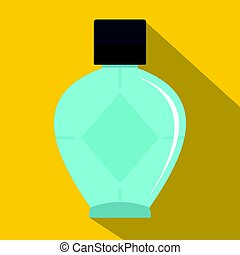 Light blue bottle of female perfume icon