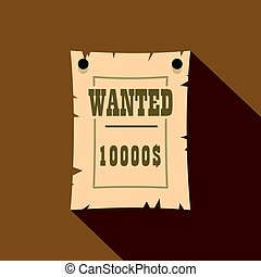 Vintage wanted poster icon, flat style - Vintage wanted...