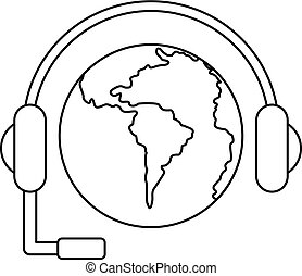 World planet and headset icon, outline style