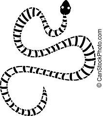 White striped snake icon, simple style - White striped snake...