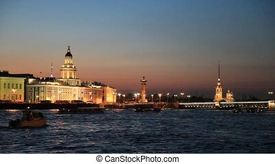 Neva river at night, St. Petersburg