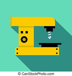Drilling machine icon, flat style - Drilling machine icon....
