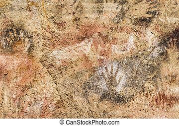 Cueva de las Manos, Patagonia, Argentina - Detail view of...
