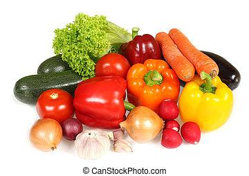 Fresh vegetables - Ripe vegetables against white background...