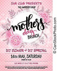 vector hand drawn mothers day event poster with blooming chrysanthemum flowers hand lettering text - mothers day and luminosity flares on checkered background
